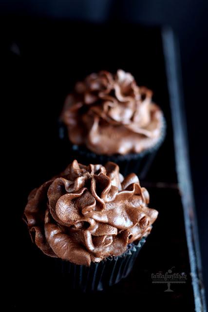 Cupcakes de Ganache de chocolate Negro
