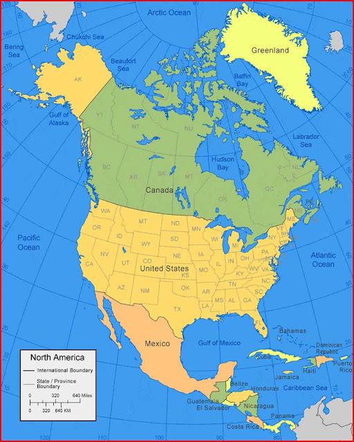 Gambar Peta Amerika Utara