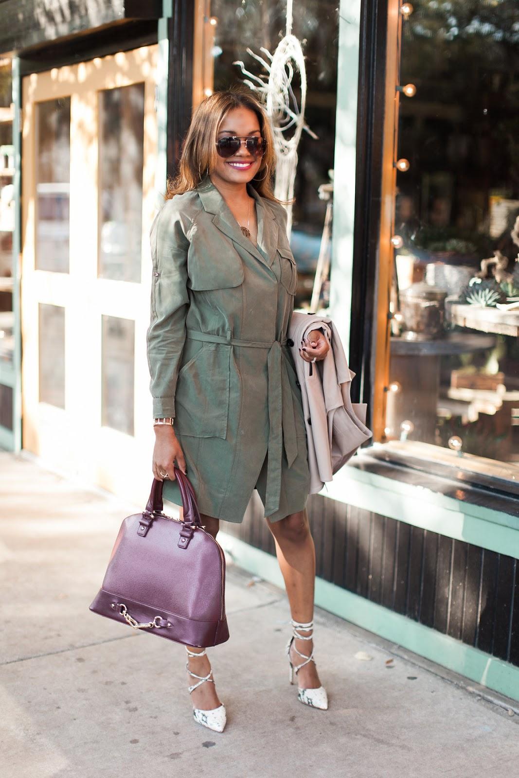 Banana Republic olive trench dress, olive, fall fashion, how to layer, ann taylor, trench dress, steve madden raela pump, justfab, dallas fashion blogger, fashion blogger, detroit fashion blogger, black fashion blogger, steve madden