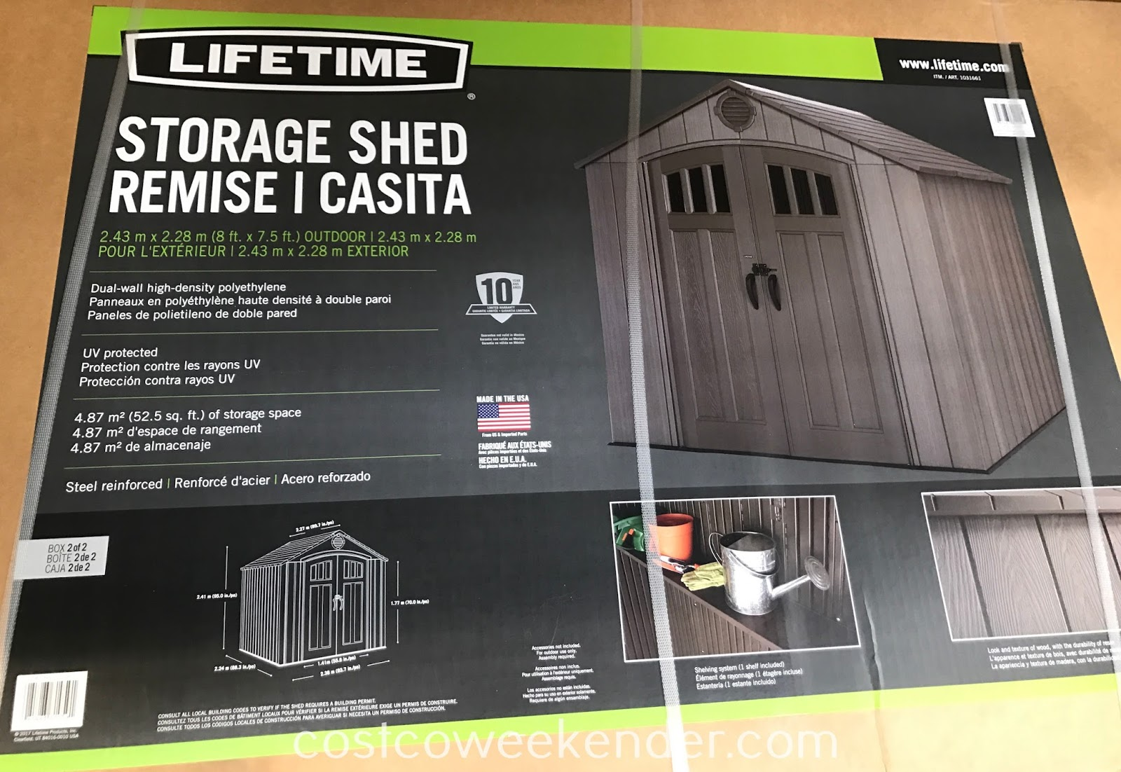 Costco 1031661 - Put gardening equipment and other tools away in the Lifetime Products Resin Outdoor Storage Shed