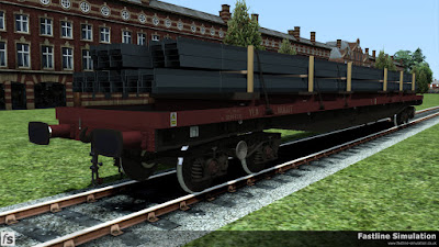 Fastline Simulation: The EWS livery on the YLA Mullet has started to fade but it is still finding useful work carrying long steel sections