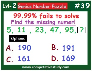 Number Puzzle: Find the missing number: 5, 11, 23, 47, 95, ?