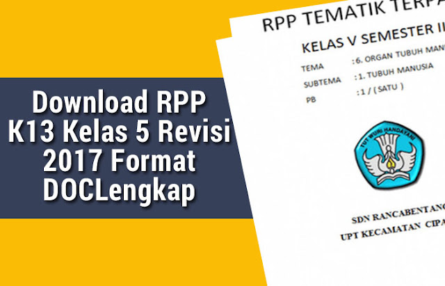 Download RPP K13 Kelas 5 Revisi 2017