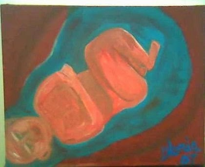 """birthing a baby"" oil painting by Gloria Poole; yr 2007"