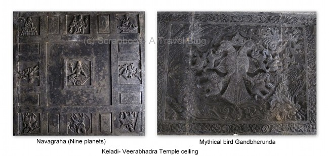 Navagraha chart and mythical bird Gandabherunda, veerabhadra temple Keladi