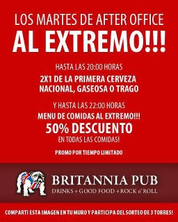 Los martes After Office en el Britannia