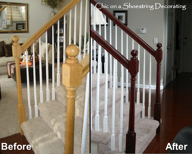 Stain your oak stair rails
