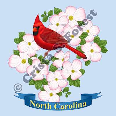 http://forestwildlifeart.com/birds-state-bird-flower-north-carolina.htm