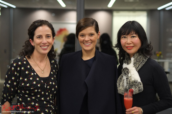 K&L Gates Partner Lisa Egan with designer Kacey Devlin and lifestyle blogger Vivienne Shui at the Cocktails and Couture event. Photo by Kent Johnson for Street Fashion Sydney.