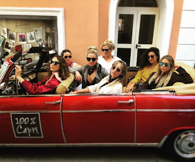 Ashley Benson, Shay Mitchell, Troian Bellisario, Lulu Brud Zsebe and Troian Bellisario joyride in Capri, Italy for Troian's bachelorette party