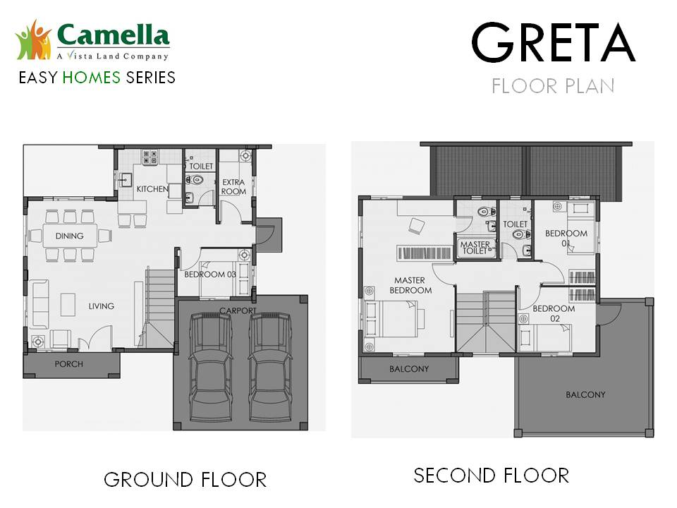Floor Plan of Greta - Camella Carson | House and Lot for Sale Daang Hari Bacoor Cavite