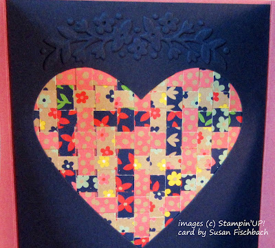 Heart with woven Designer Paper Strips and Floral Affection Texture Embossing