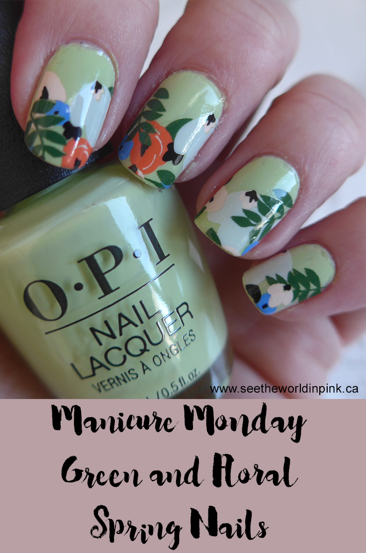Manicure Monday - Green Floral Spring Manicure