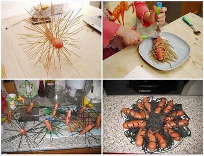 Nudeln mit Würstchen - lustige Bilder Kochen Idee