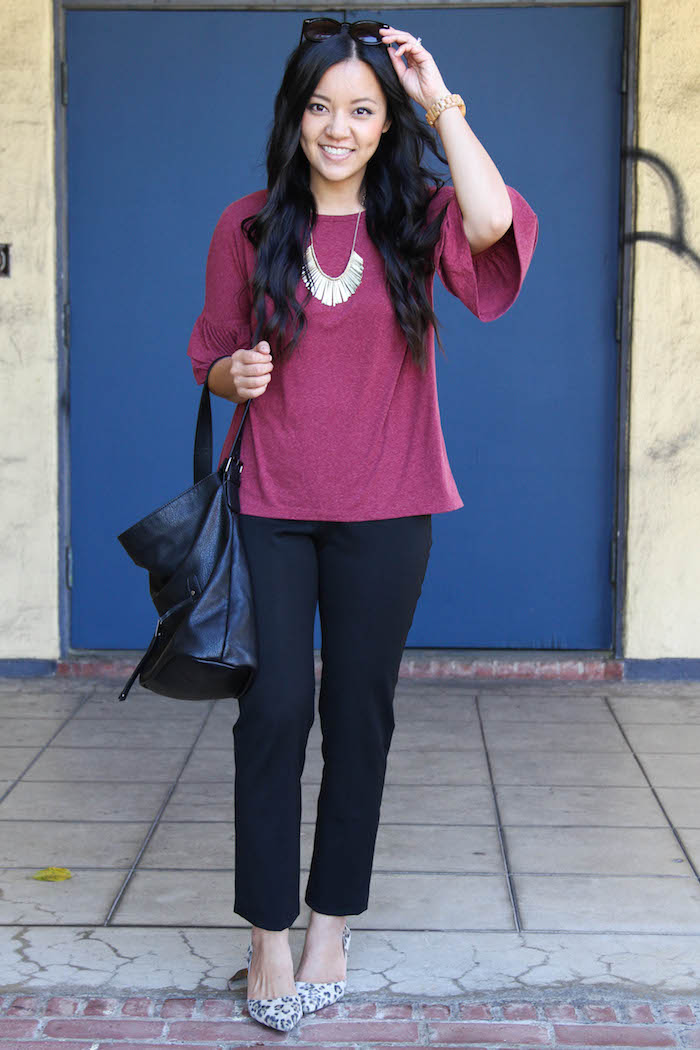Maroon Bell Sleeves Shirt + Black Ankle Pants + Leopard Flats + Gold Necklace + Black Bag