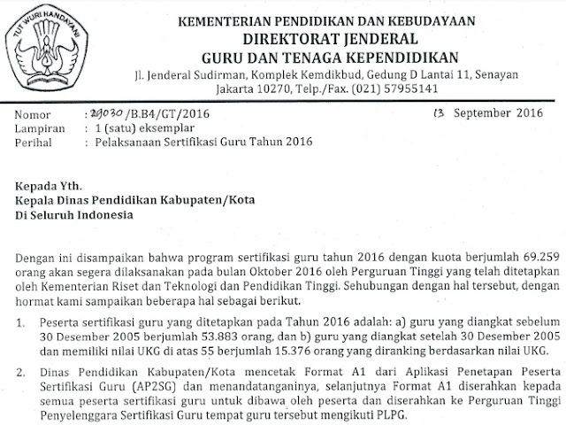 Surat Edaran Dirjen GTK Kemendikbud Nomor: 29030/B.B4/GT/2016 Tanggal 13 September 2016 Tentang Pelaksanaan Sertifikasi Guru Tahun 2016