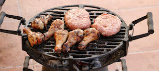 Meat cooking on the BBQ