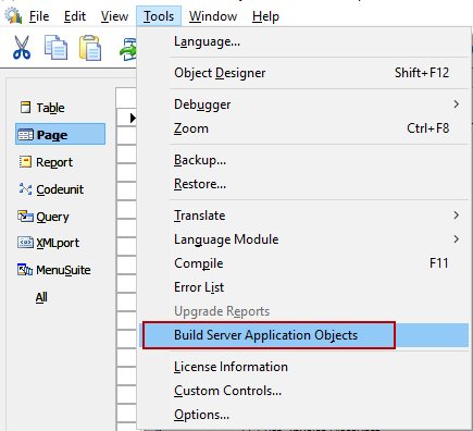 Build Server Application Objects