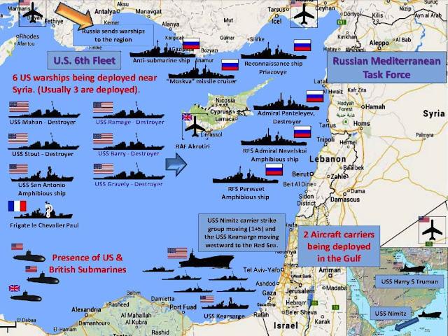 Concentração de forças navais ante Siria, prévia à chegada do grupo do Kuznetsov.