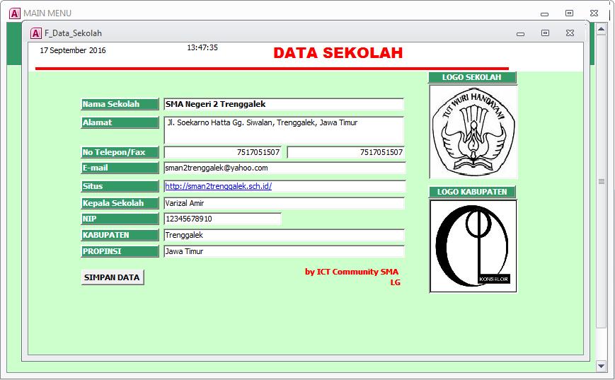 input data sekolah - Aplikasi Bimbingan Konseling Gratis
