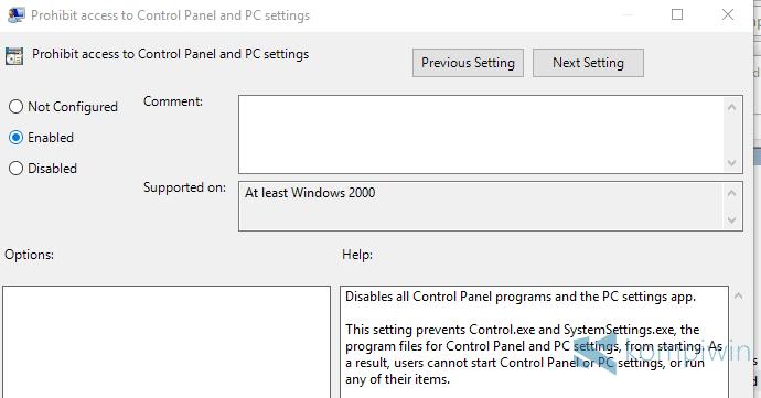 cara disable control panel dan settings untuk user tertentu