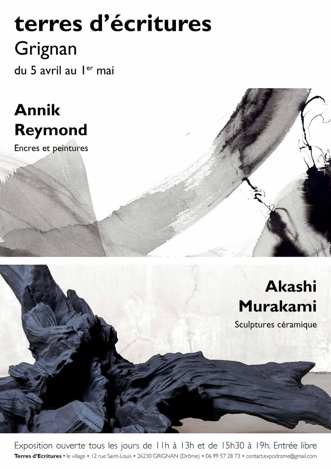 Exposition Terres d'Ecritures Grignan, Reymond | Murakami