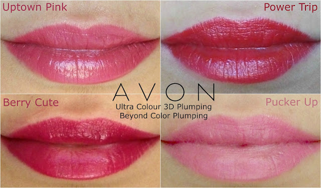 Avon Ultra Colour 3d plumping /Beyond Color) lipsticks in Pucker Up, Uptown Pink, Power Trip and Berry Cute, review and swatches