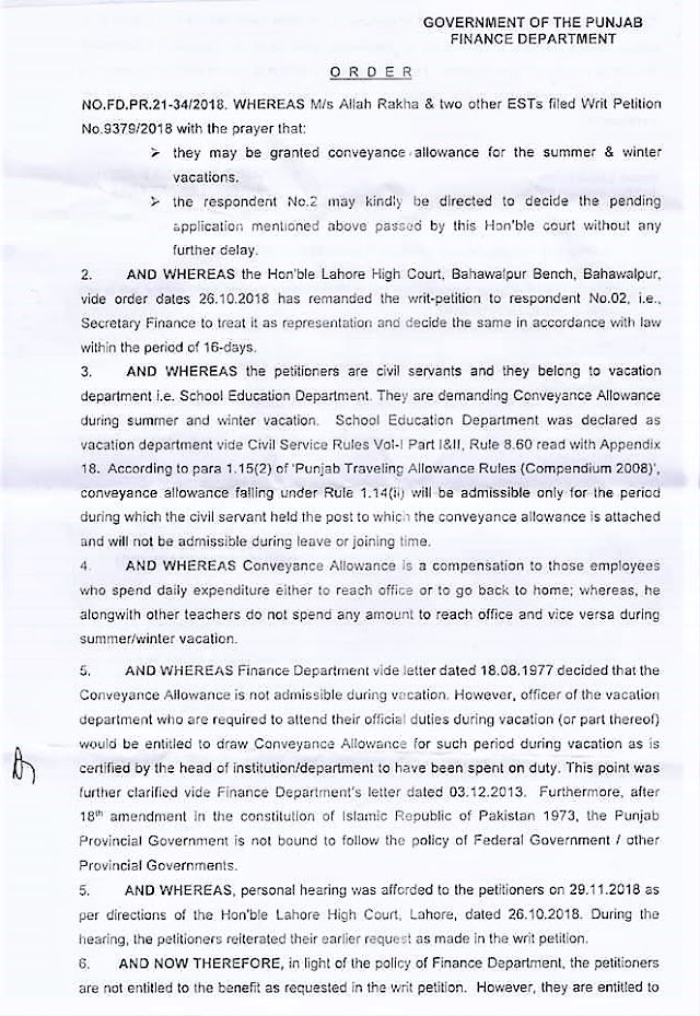 DECISION REGARDING GRANT OF CONVEYANCE ALLOWANCE DURING SUMMER AND WINTER VACATIONS