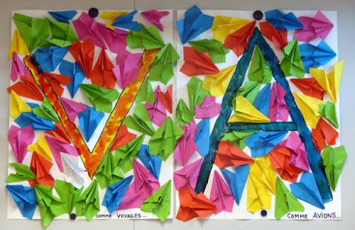 Melle Maurice et avions en papier en maternelle