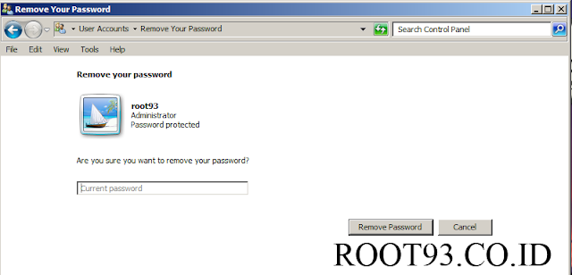 memasukan password untuk melanjutkan penghapusan password