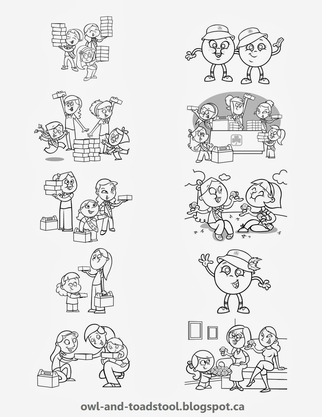 girl scout coloring pages pdf   Owl & Toadstool: Cookie Song book and colouring pages