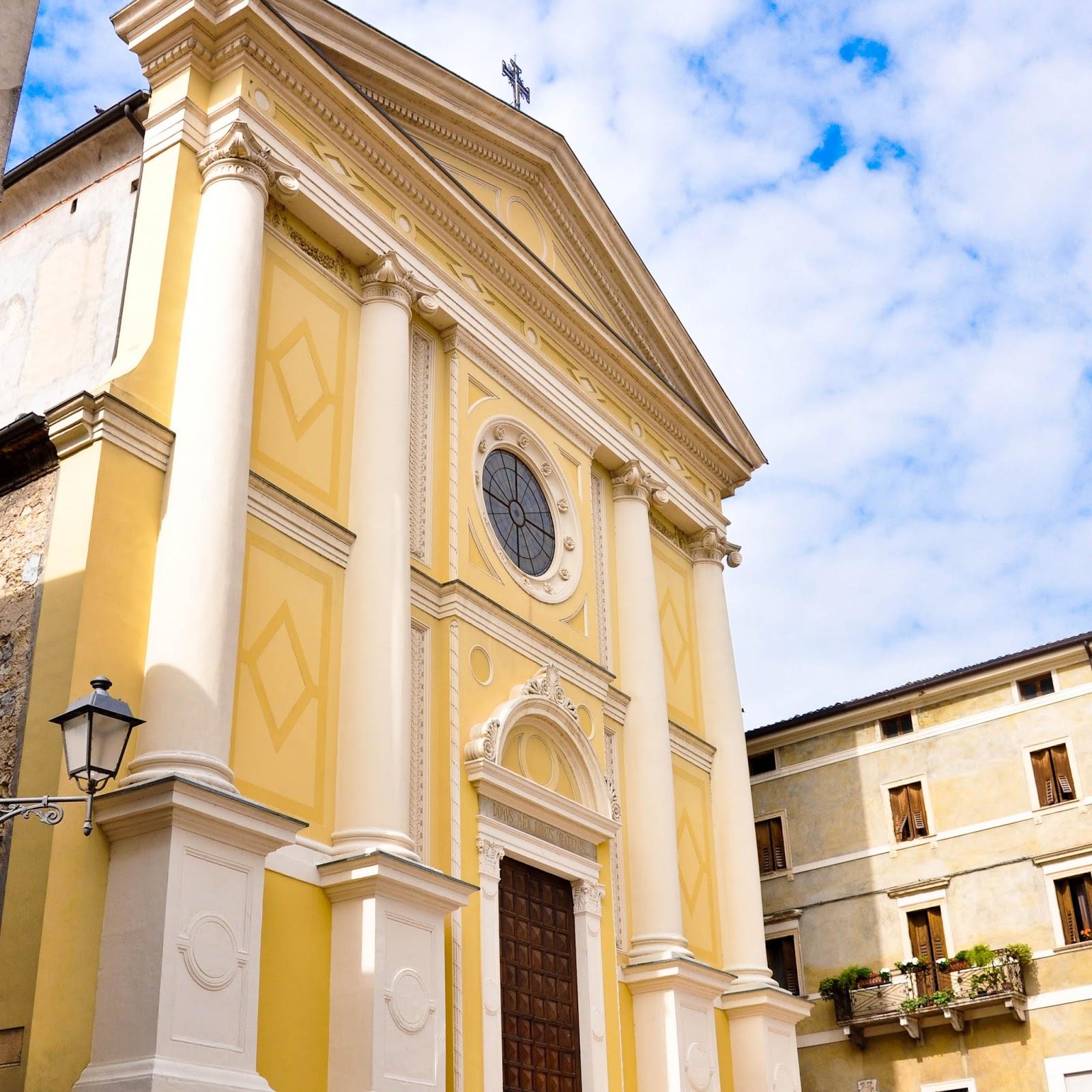 A church facade, Soave, Veneto, Italy