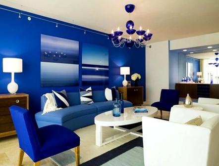 Ruang Tamu Nuansa Bercat Biru