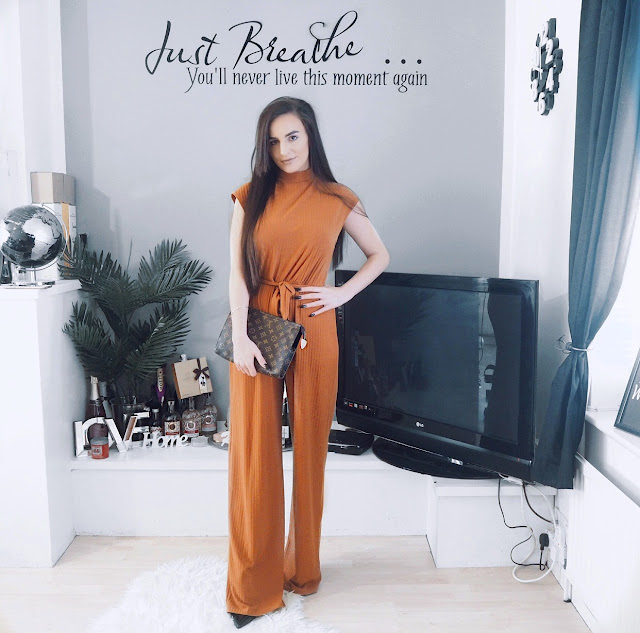 Rust High Neck Ribbed Jumpsuit