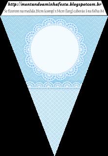 Banderines de Encaje Celeste para imprimir gratis.