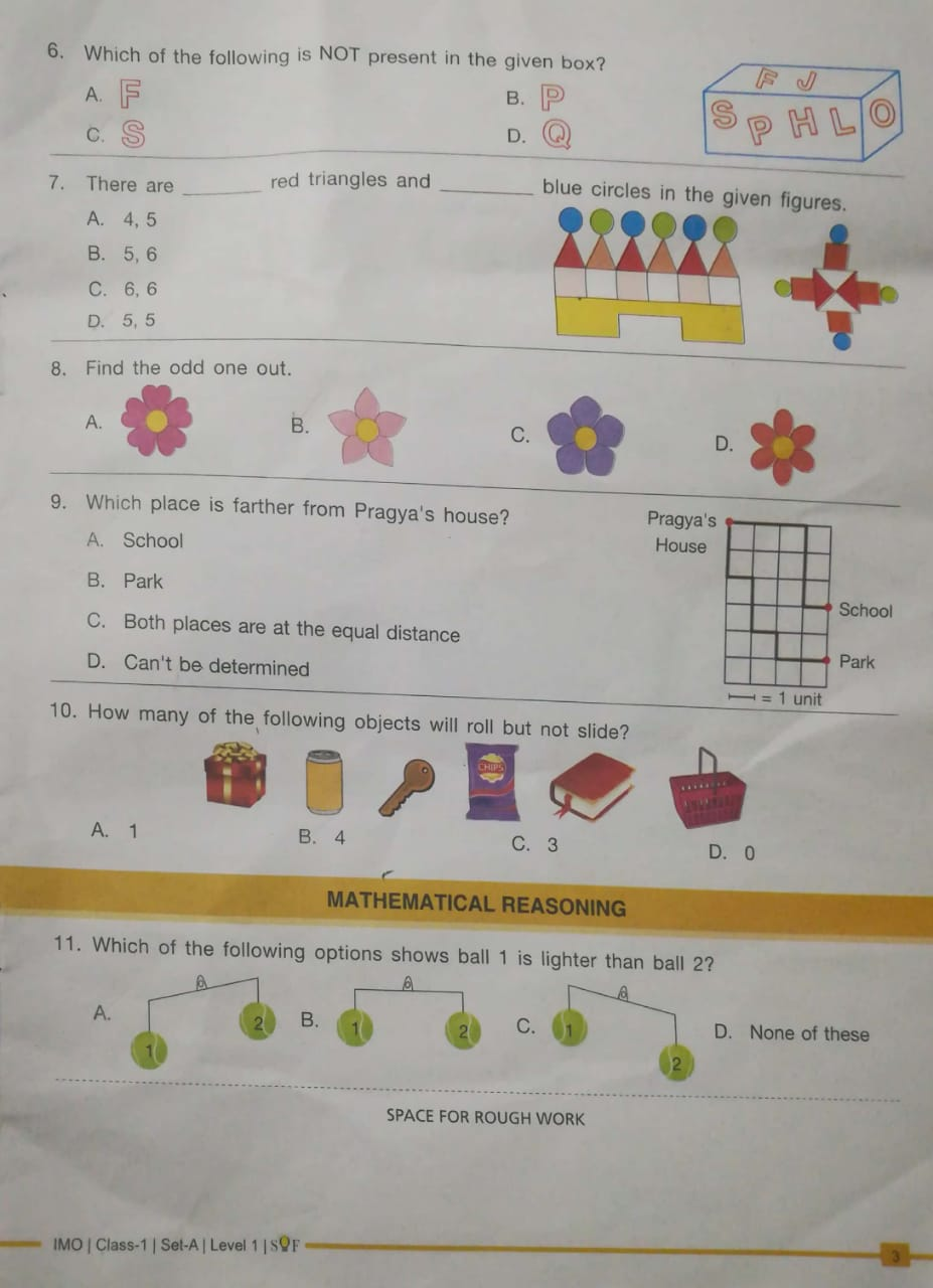 IMO SOF CLASS 1 Maths 2018-2019 Question Paper