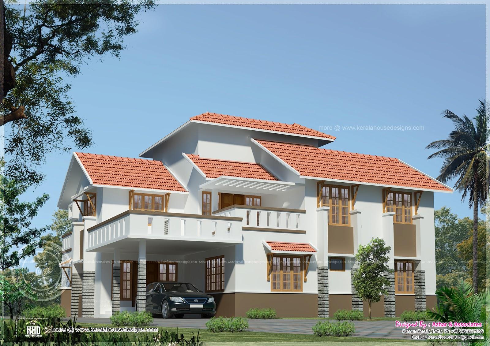 Slanting Roof Indian Home Elevation Design House Design Plans
