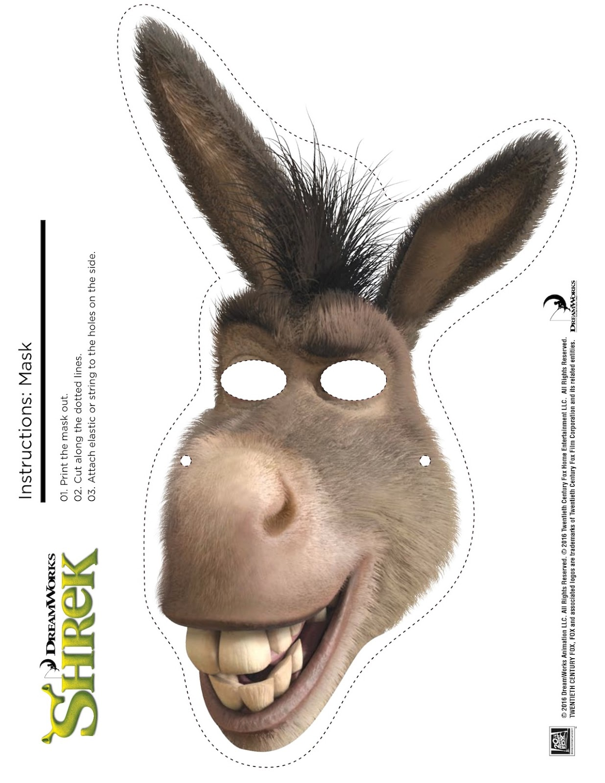 Shrek Photo Booth Props + Print Free Printable Shrek Mask