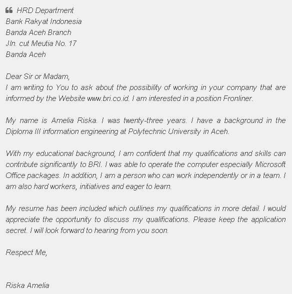 Contoh Surat Lamaran Kerja Menjadi Sekretaris