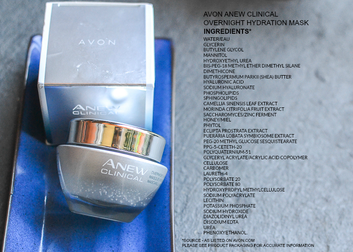 Avon Anew Clinical Overnight Hydration Face Mask - Ingredients