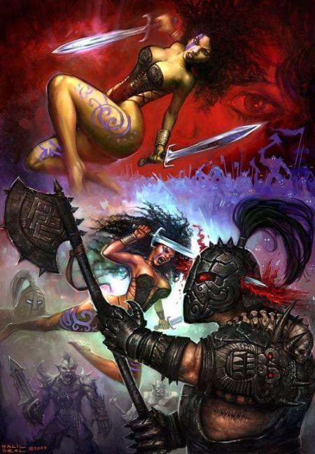 Halil Ural mrdream deviantart ilustrações fantasia arte conceitual Duas espadas
