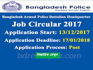 Bangladesh Armed Police Battalion Headquarter Job Circular 2017