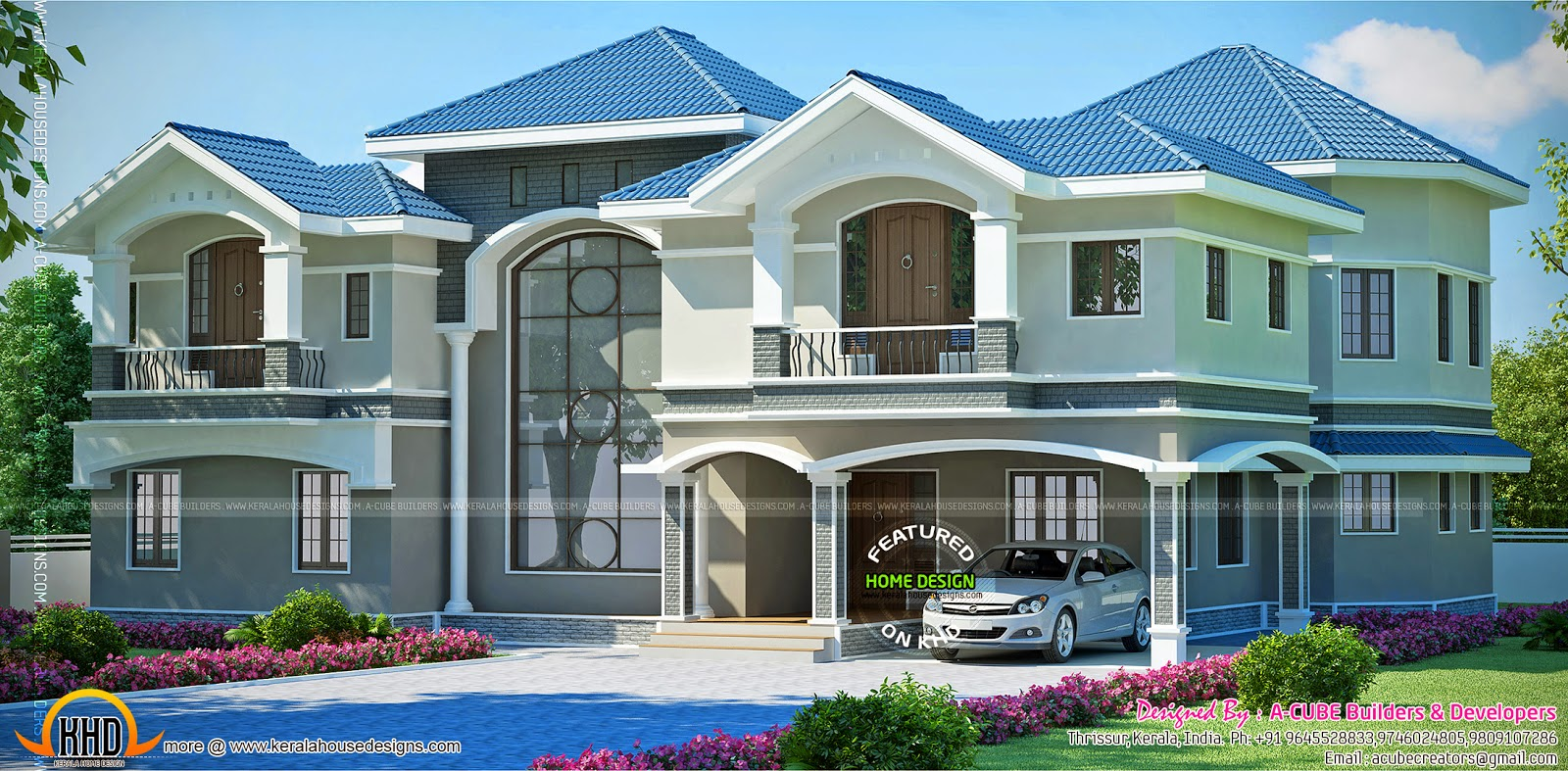 Super luxury house in beautiful style kerala home design for Luxury house plans for sale
