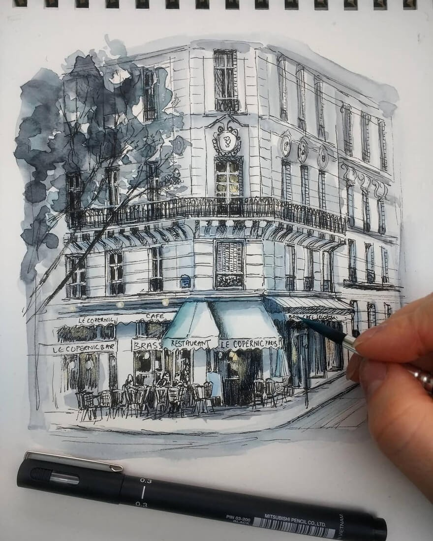 01-Parisian-Café-Demi-Lang-Architectural-Drawings-of-Interesting-Buildings-www-designstack-co