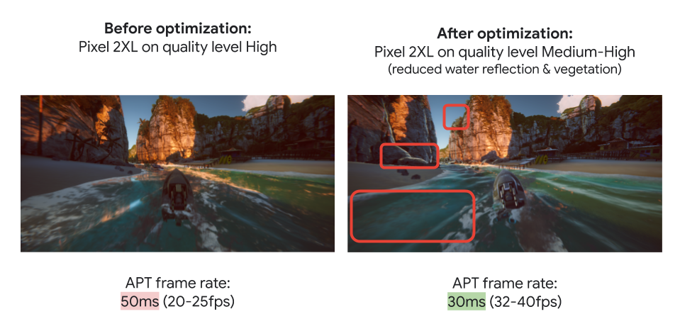 Unity Boat Attack Sample with Different Optimizations