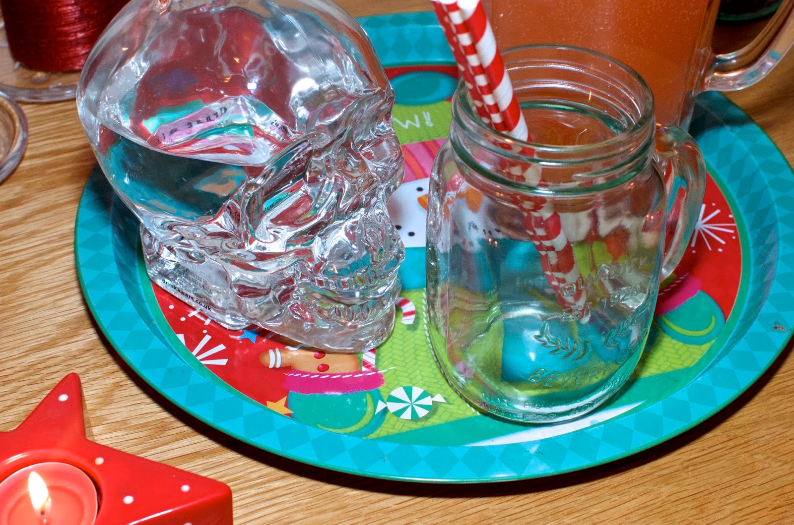 Christmas tray, punch and vodka