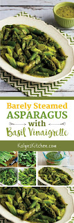 Barely Steamed Asparagus Recipe with Basil Vinaigrette found on KalynsKitchen.com
