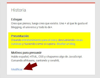 Modificar datos de perfil Google+