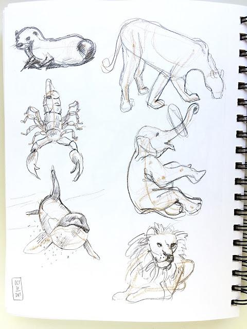 Daily Art 10-06-17 gesture studies of animals