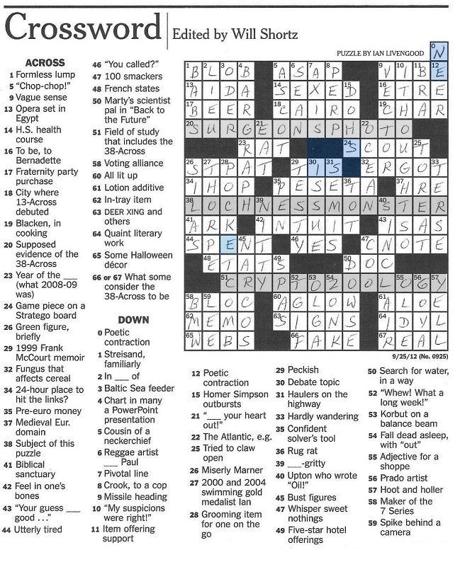 Sex Crossword Puzzle 109